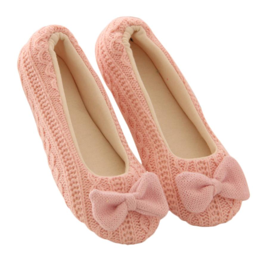 Women Casual Shoes Knitting Solid Home Flat Bowknot Female Cashmere Warm Shoes Zapatos calientes 1025