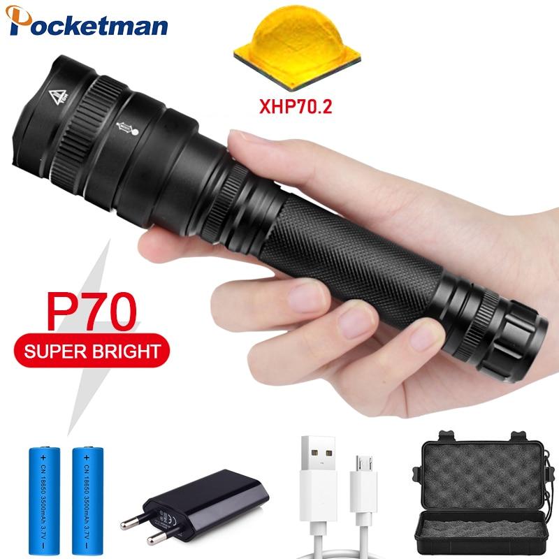 120000Lumens LED Flashlight Xhp70.2 Ultra Bright Waterproof Linterna Led Torch Xhp70 Xhp50 18650 Best Camping, Outdoor Light