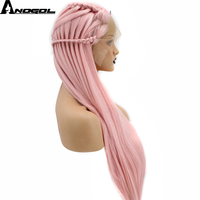 Anogol Braids Middle Part Natural Long Straight Pink Braided Synthetic Lace Front Wig For White Women With Tiara