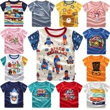 Одежда для малышей, детские футболки, топы для маленьких мальчиков с принтом «космические ракеты», футболка с короткими рукавами, летняя футболка