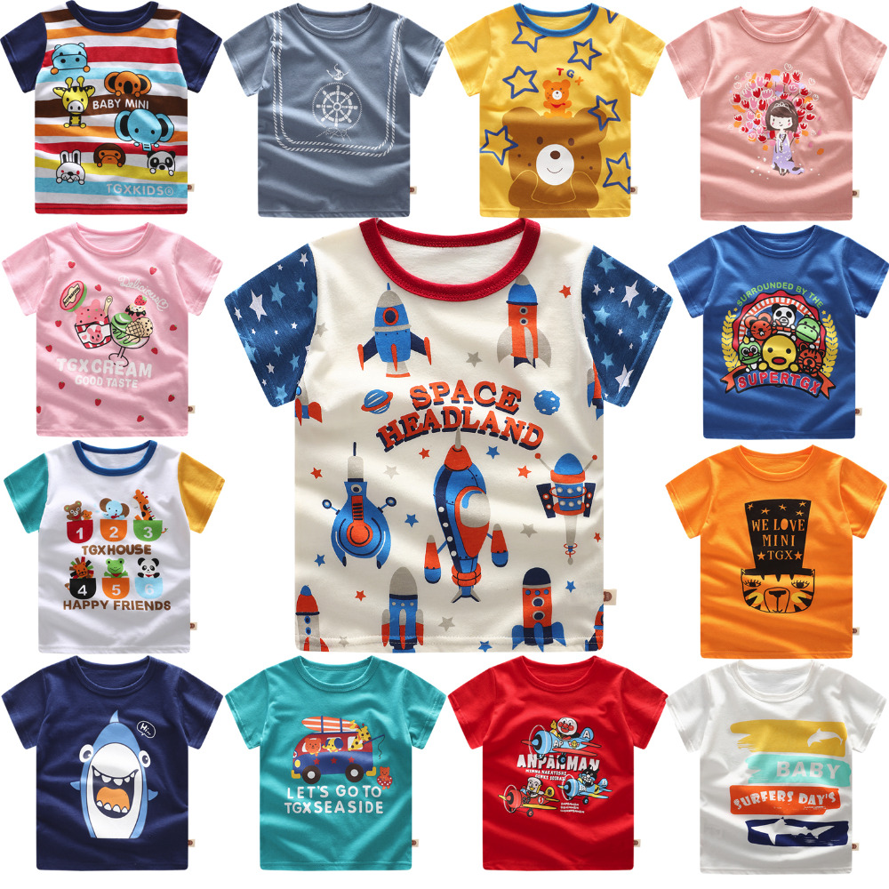 Baby Clothing T-Shirt Tops Short-Sleeve Space Kids Children Summer Rockets Print Tee title=