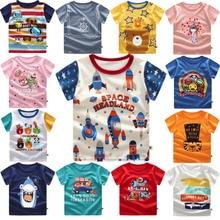 Ropa de bebé niños camisetas espacio rockets imprimir niños bebé niño Tops Camiseta de manga corta Camiseta de verano