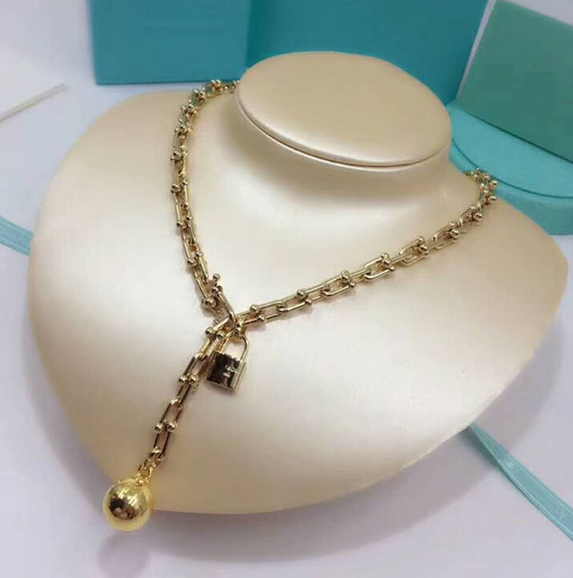 High quality ball Brand Necklace Stainless Steel Byzantine Chain Gold Silver Color  Statement Necklace Party Fashion Jewelry