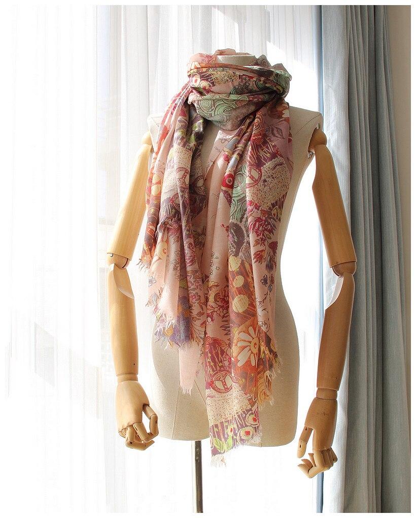 100% cachemire exquis imprimé boutique mince foulards châle pashmina pour les femmes printemps été automne mode 100x210 cm