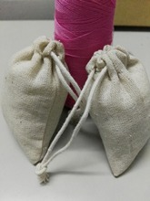 20pcs/lot eight*10cm overlocked linen jewellery bag small drawstring bag present pouch child bathe necklace Jewellery Packaging bag