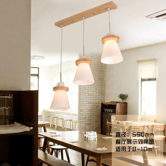 Holz Pendelleuchten Glas Lampenschirm Dekorative Lampe Indoor