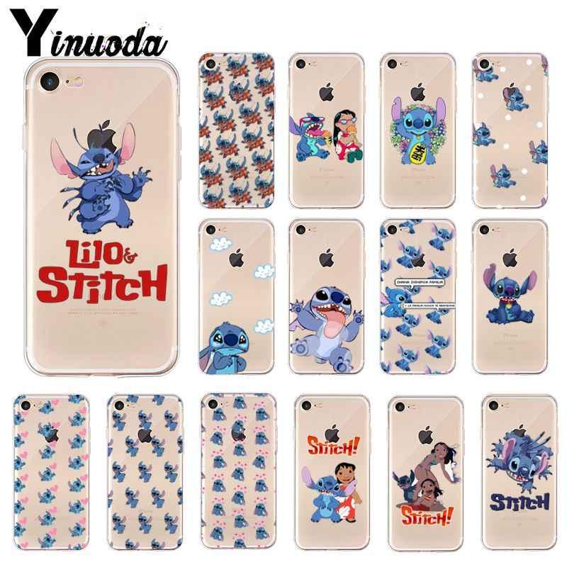 Yinuoda Lilo Stitch TPU Mềm Dẻo Silicone Trong Suốt Điện Thoại Ốp Lưng cho Apple iPhone 8 7 6 6S 6S Plus X XS MAX 5 5S SE XR Di Động Trường Hợp
