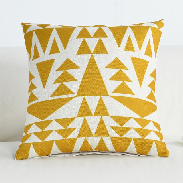 Geometric Striped Decorative Cushion Cover – Cotton Linen, 45x45cm