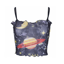 Crop Boat Neck Casual Polyester Top Party Sexy Fashion Short Ruffle Floral Printing Women Vest Spaghetti Strap Daily Camis