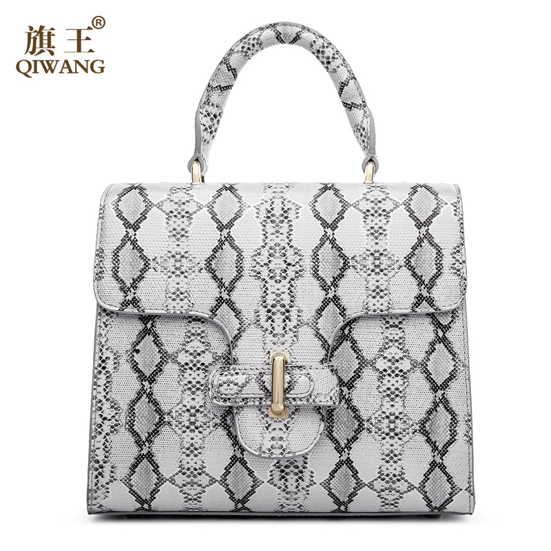 5941e80f796f Qiwang Women Python Bag Cow Snake Skin Cowhide Leather Tote Bag Wholesale  Quality Cross Handbag Small Summer Designer Bag