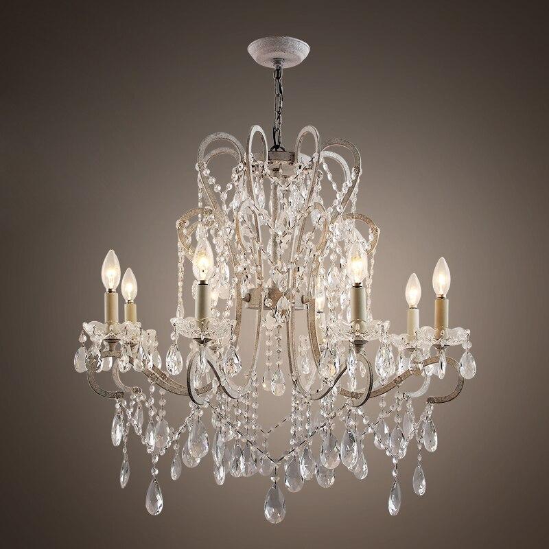 Elegante Schmiedeeisen Kristall Kronleuchter Wohnzimmer Lampe Halle Licht Dekoration Beleuchtung 110 V 220 E12 E14