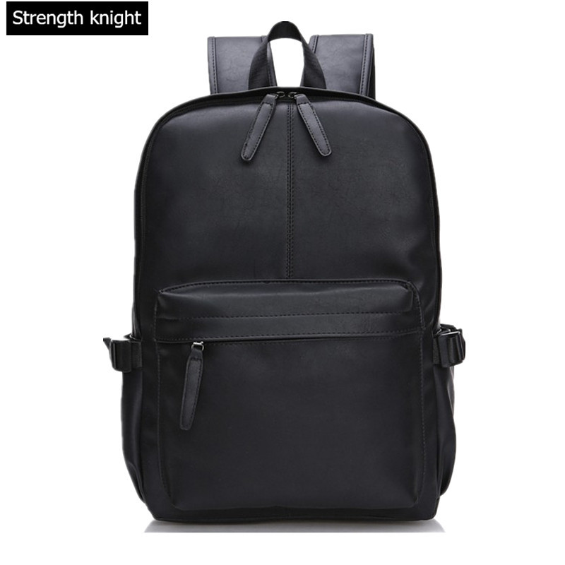 Men Women PU Leather Vintage Backpack Fashion Leisure Male School Black Day Brown Rucksack Casual Backpack