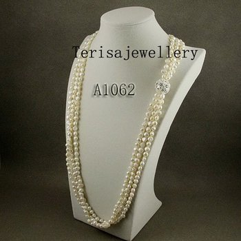 New Free Shipping A1062# Fashion Jewellery  3 Rows White Color Length 85CM Size 25MM,5-6MM  Fresh Water Pearls Necklace