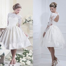 2014 New arrival White Elegant Knee Length High Neck Satin Short Lace Wedding Dress With Keyhole Back Custom size free shipping