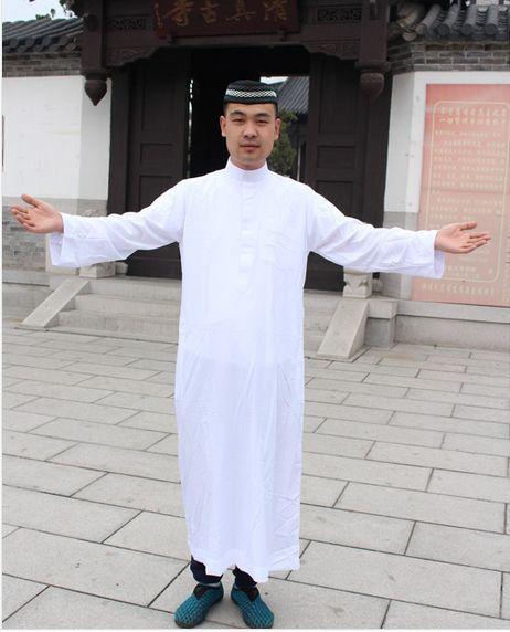 O envio gratuito de homens árabes da arábia saudita thobe islam Vestuário Muçulmano Abaya Islâmico Kaftan Robes Masculinos dos homens Vestido de 2806