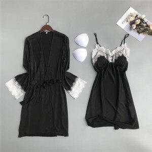 Image 5 - MECHCITIZ silk robe for women sexy summer bathrobe lace nightgown nightwear female sleepwear dress lingerie satin lounge set