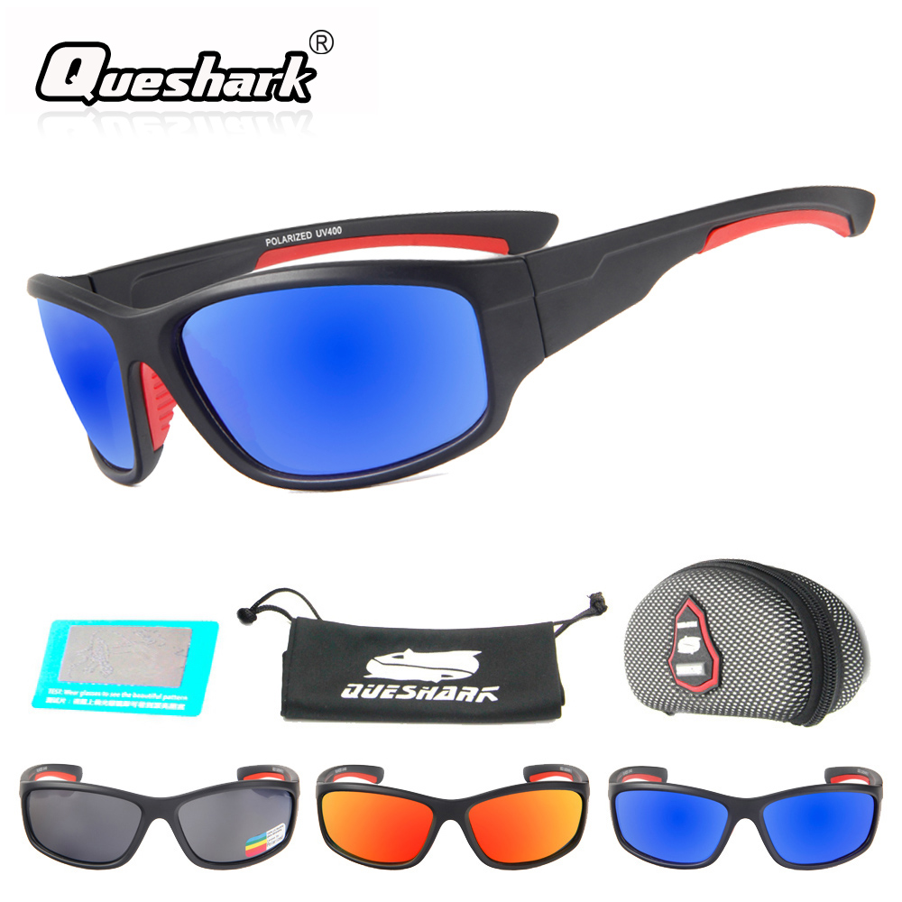 QUESHARK hombres polarizadas pesca gafas de sol Camping senderismo gafas Uv400 protección bicicleta gafas ciclismo pesca deportiva gafas
