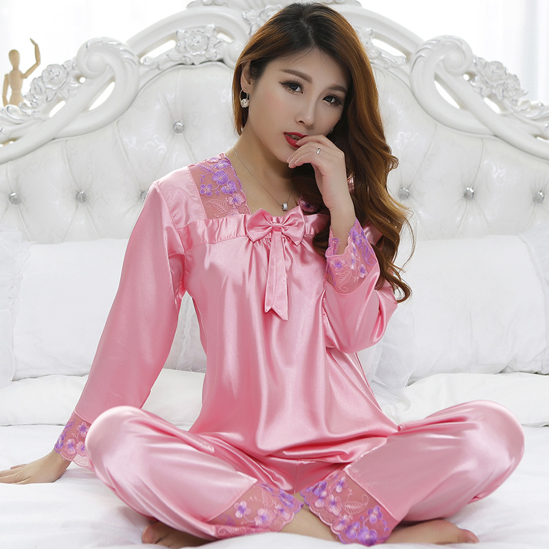 Summer   Pajamas     Set   Satin 2pcs Sleepwear Women's Home Wear Lace Embroidery Sexy Intimate Lingerie Casual Nightgown Negligee
