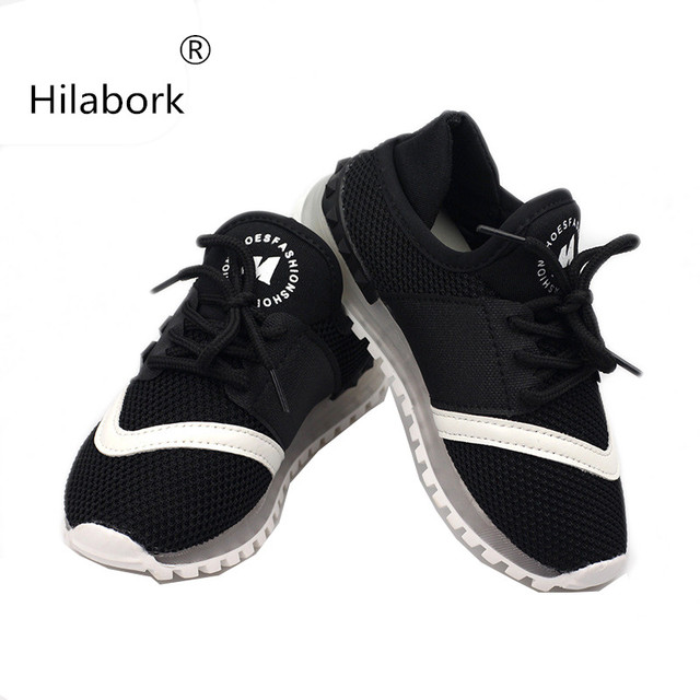 Hilabork 2018 Automne nouvelles chaussures de sport garçon casual fille  chaussures de course étudiant blanc chaussures