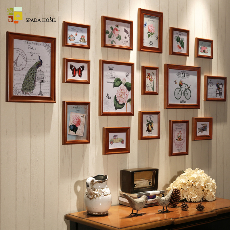 16 piecesset vintage picture frame set home interior wall decoration wooden photo frames