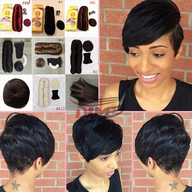 Short Hairstyle Simple Pixie Cuts 100% Short Weave Human Hair For Women  2PCS Virgin Brazilian de2e5be515