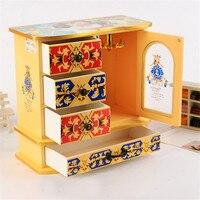 High Grade Wedding Jewelry Boxes Royal Wooden Box Mirror KeyShelf Home Metal Cabinet Storage Box Holder