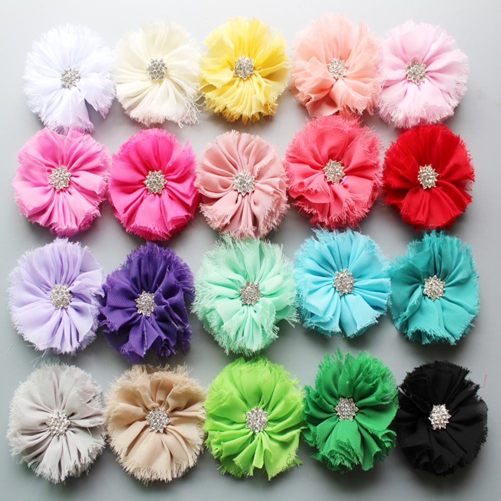 wholesale 200pcs lot shabby fabric flowers with high quality lotus rhinestone for hair accessories girls headband