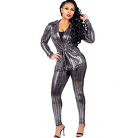 Sexy Sequin Two Piece Sets Women Long Sleeve Jacket Coat and Pencil Pants Suit Club Wear Sparkly Birthday Matching Set Outfits