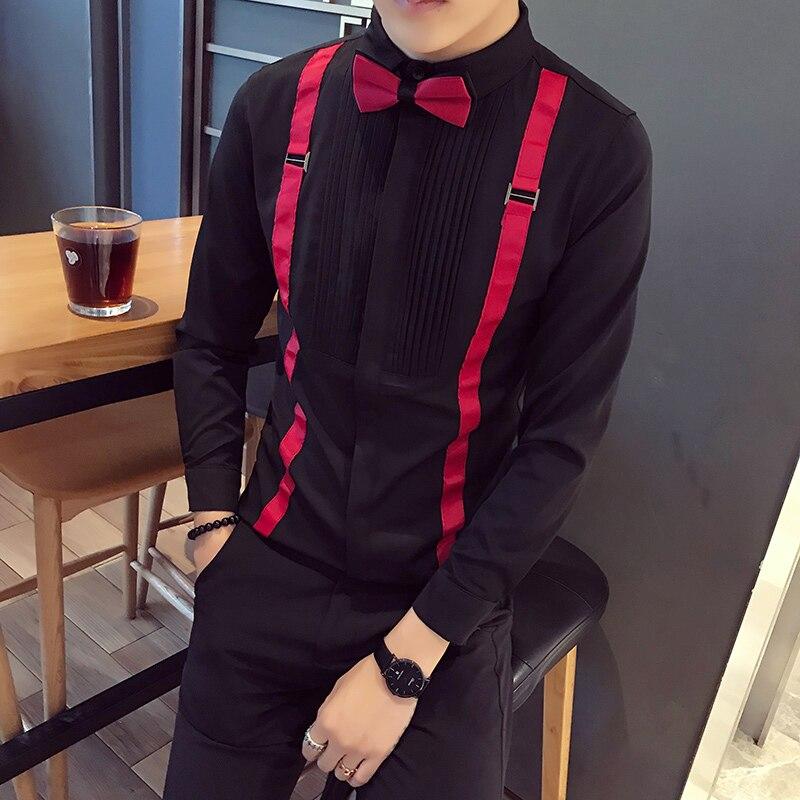 2018 Kleid Tuexdo Shirts Männlichen Herren Kleidung Lange Sleeve Social Slim Fit Marke Boutique Baumwolle Westlichen Weiß Schwarz Shirt Wir Nehmen Kunden Als Unsere GöTter