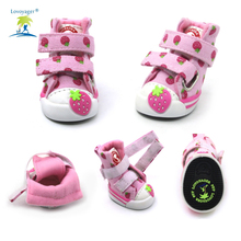 Lovely Strawberry Honden Schoenen Soft Warm Velvet Boots New Design Pet Teddy Poodle Puppy Sportschoenen Roze / Blauw