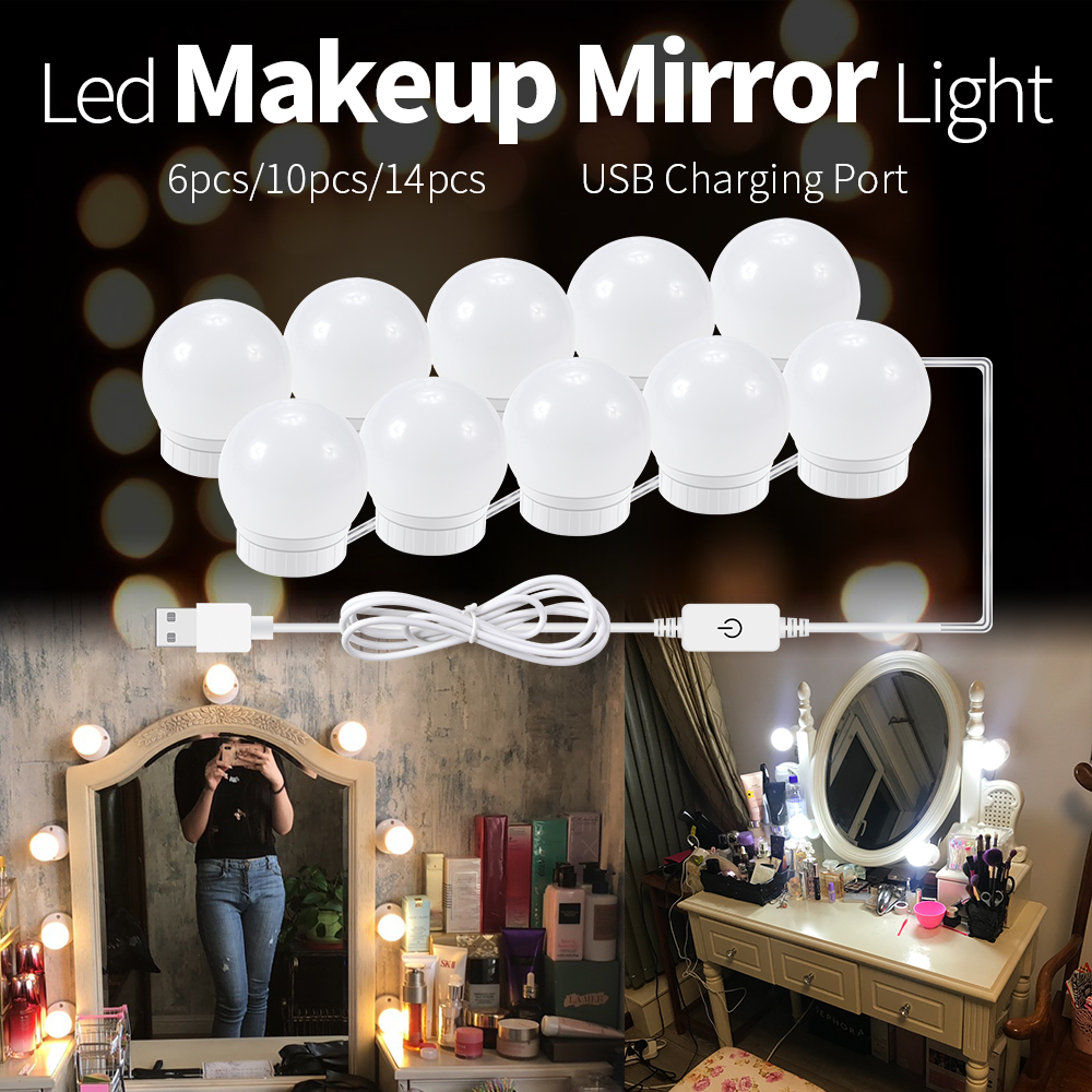 Mirror Lamp LED Makeup Mirror USB Light Bulb 2 6 10 14 PCS Vanity Mirror With Light DC 12V Dressing Table Lamp Dimmable LED Bulb in LED Indoor Wall Lamps from Lights Lighting