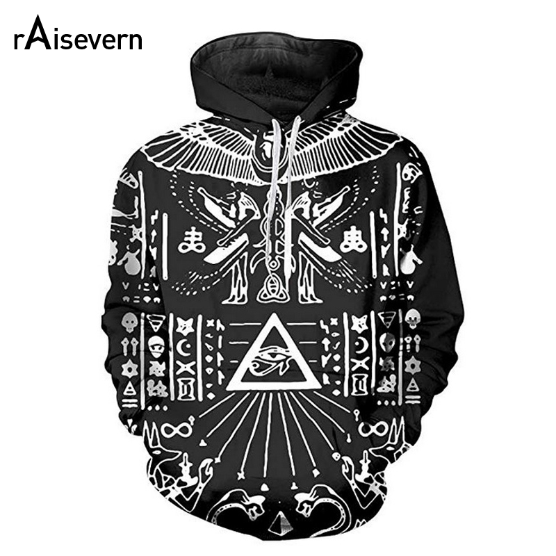Raisevern Illuminati Pharaoh Hoodie Harajuku 3D Punk Streetwear Hoody Sweatshirts Long Sleeve Hooded Tracksuits Dropship