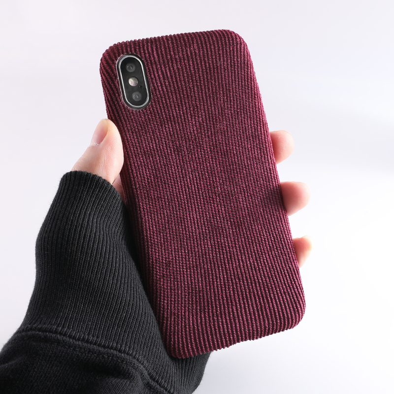 SoCouple Plush Fabrics Phone Case For iphone X 7 8 6 6S plus Case For iphone Xs max XR Cloth Texture Soft Back Cover Capa Fundas (8)