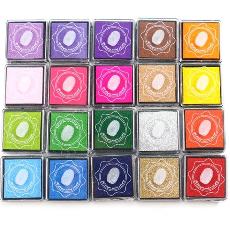 New 20 Color 4X4cm Ink Pad Scrapbooking Color Ink Seal Seal Decoration Fingerprint Mold Card Production DIY Crafts