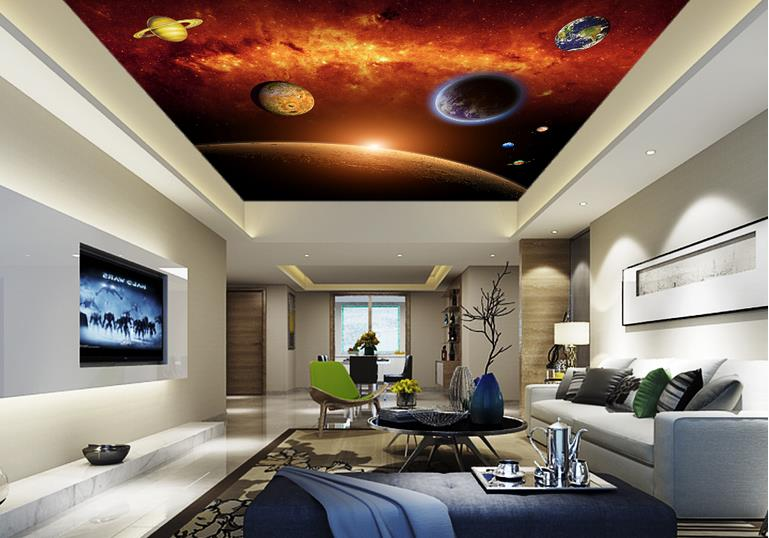 customize 3d luxury ceiling wallpaper Space Planet wallpapers for living room modern sky ceiling