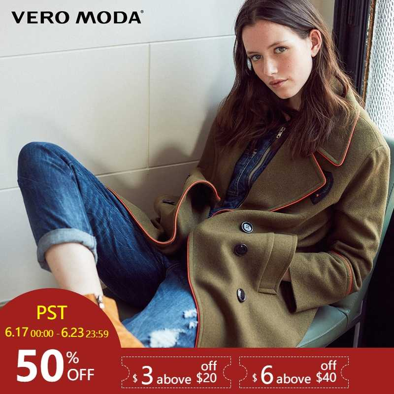 Vero Moda Lapel Double-breasted Woolen Overcoat |317427510