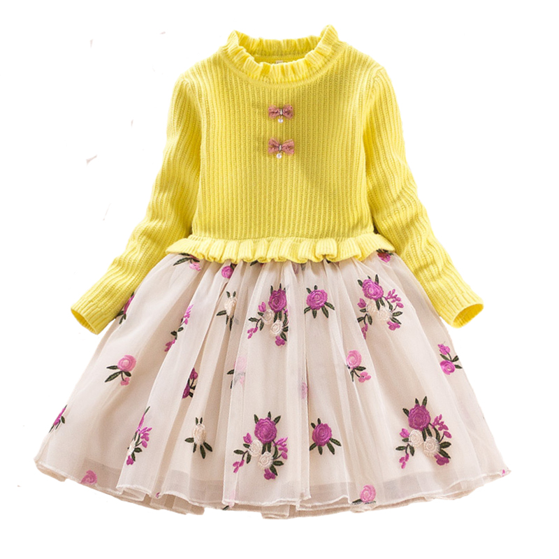 Fashion Autumn Winter Kids Dresses for Girls Knitting Dress Cotton Warm Long Sleeve Lace Costume for Children Princess Clothing girls winter dresses elegant thicken kids dresses for girls warm cotton children clothes clothing autumn winter 7 16y pink blue