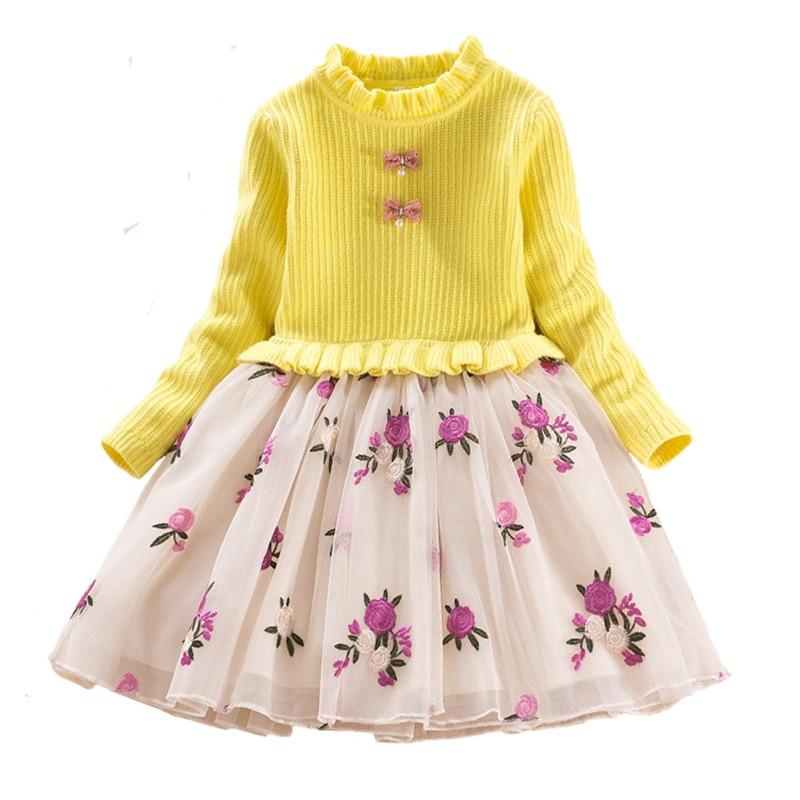 Mode automne hiver enfants robes pour filles tricot robe coton chaud à manches longues dentelle Costume pour enfants princesse vêtements
