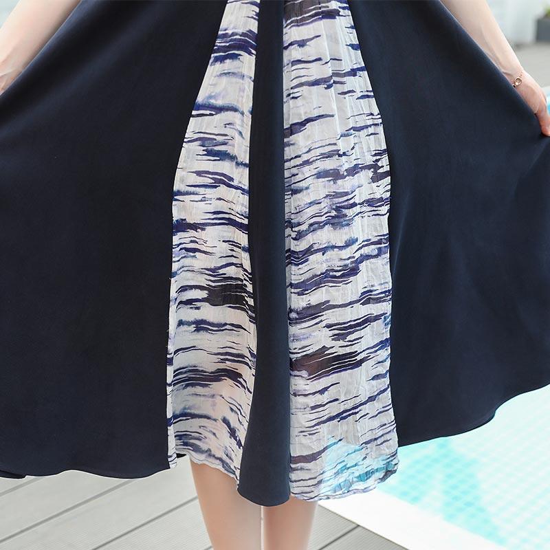 Robe Décontracté Taille Bleu Marine Voa Longues V Courtes Haute Pour Soie Femmes A757 Élégants Vêtements D'été Bureau Manches Slim Cou Robes 0FIFqT