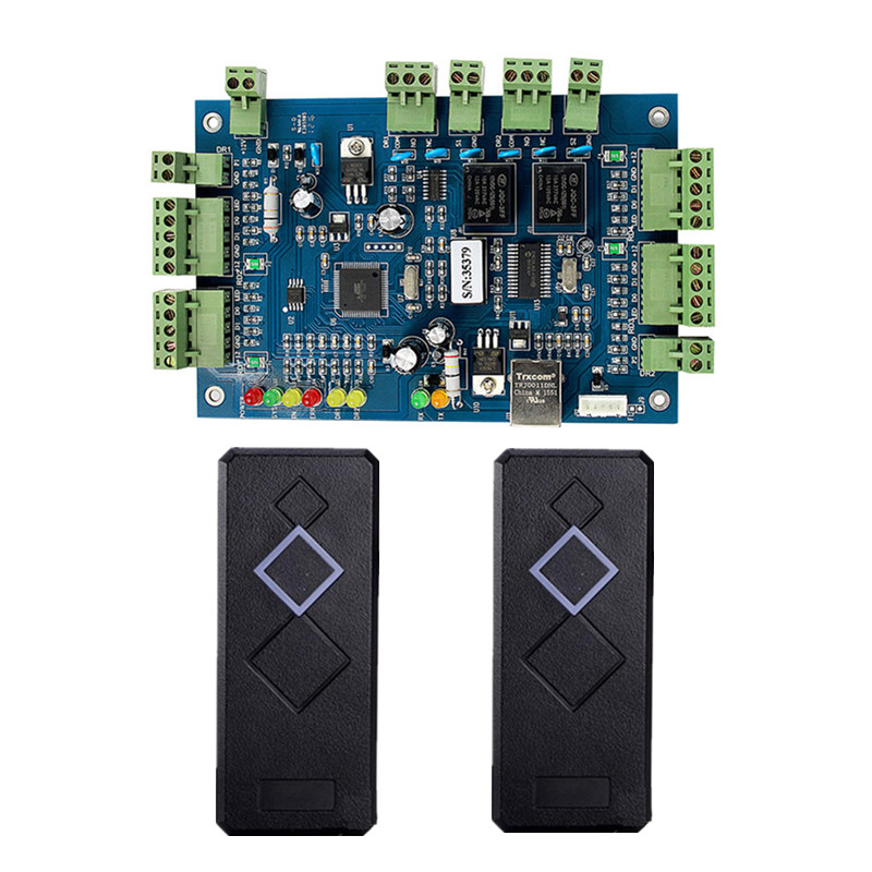 2 Doors Network Entry Access Control Board + 2X Rfid Card Reader With Card Access Control System outdoor mf 13 56mhz weigand 26 door access control rfid card reader with two led lights