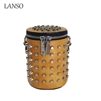 Winter Bags for Women 2016 Rivets Fashion Bucket Clutch Small Shoulder Bag Barrel Shaped Leisure Leather Purse Punk Style