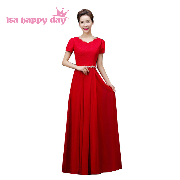 red formal plus size chiffon floor length   bridesmaids     dress   blue chiffon   bridesmaid     dresses   with sleeves for wedding guest H3118