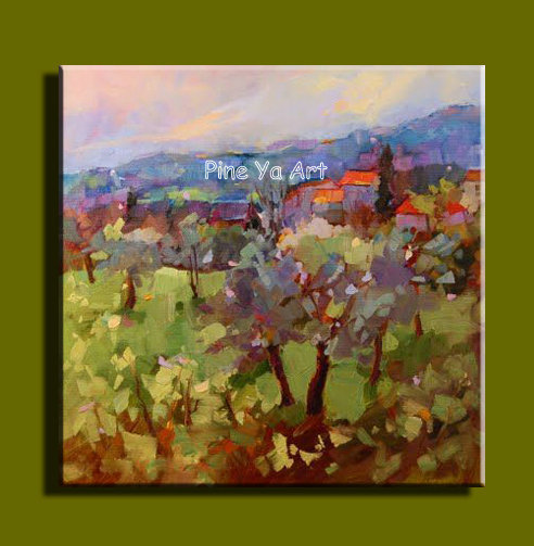 Large abstract modern canvas wall art handmade picture vineyard ...