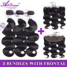 Brazilian Body Wave 2/3 Bundles With Lace Frontal Closure 13x4 Ear to Ear Hair Weave Bundles Alidoremi Non remy Human Hair(China)