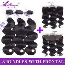 Brazilian Body Wave 2/3 Bundles With Lace Frontal Closure 13x4 Ear to Ear Hair Weave Bundles Alidoremi Non remy Human Hair