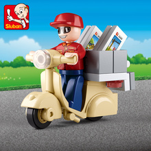 Legoings City Courier Motorcycle Postman Building Blocks Toy Action Figures City Delivery Staff Playmobil Toys for Children