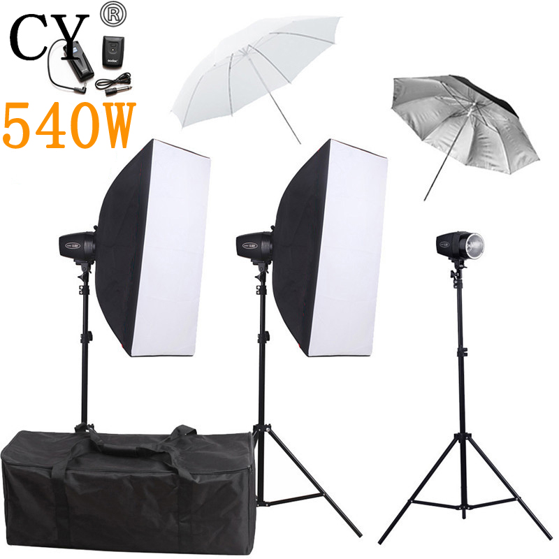 CY Photography Studio Soft Box Flash Lighting Kits 540w Flash Light Softbox Stand Set Photo Studio Accessories Godox K-180A