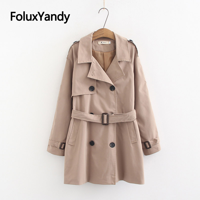 Casual Women Trench Coat Solid Long Coats Plus Size XXXL 4XL Sashes Epaulet Spring Trench Outerwear KKFY3070