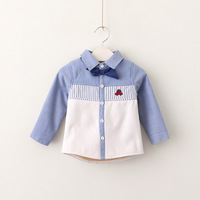 Everweekend Kids Boys Korean Fashion Bow Shirt Embroidery Car Striped Baby Boys Tops Long Sleeves Boys