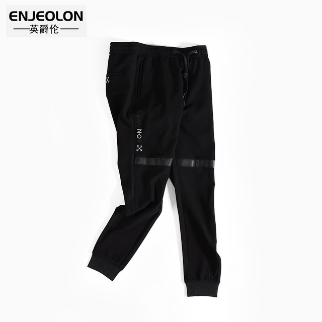 Enjeolon brand new winter long trousers pants men black fashion sweatpants for men quality casual pants males clothes KZ6321 2